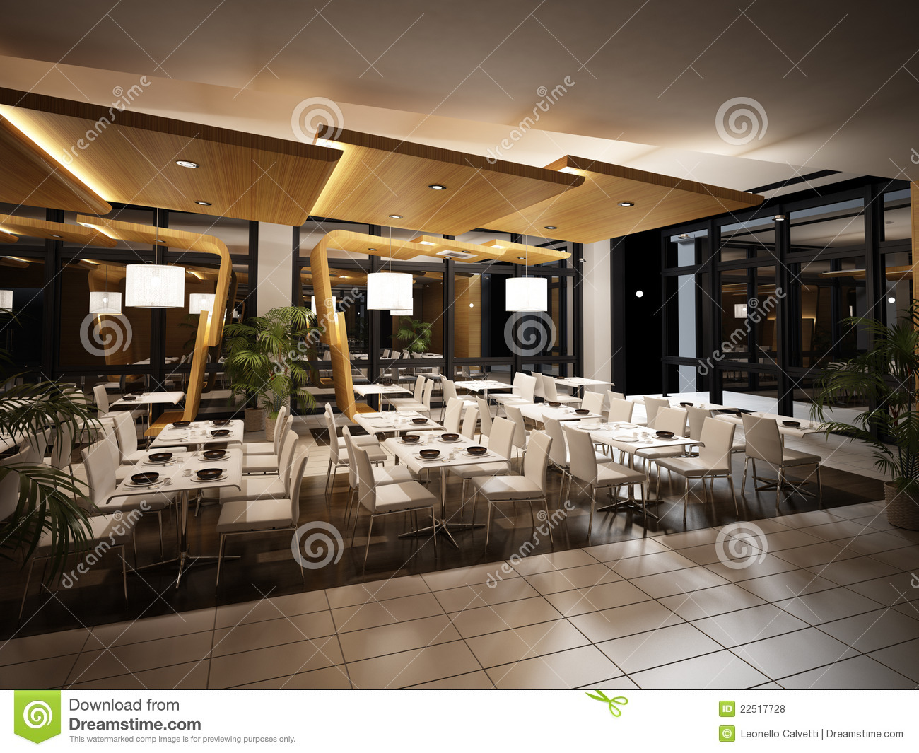 Modern restaurant interior view stock illustration for Restaurant moderne