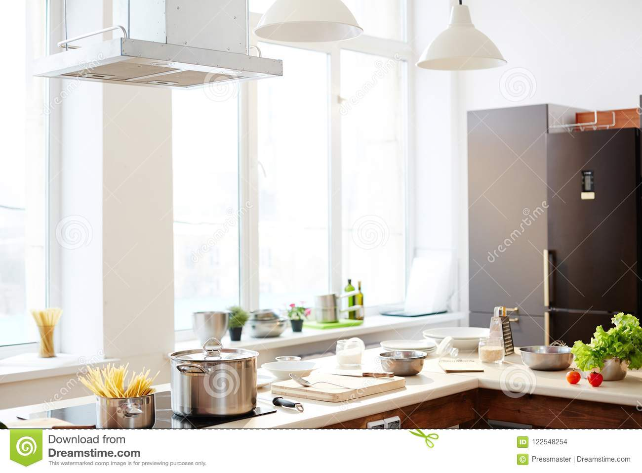 Modern Restaurant Kitchen With Counter Stock Photo Image Of Food Cooking 122548254