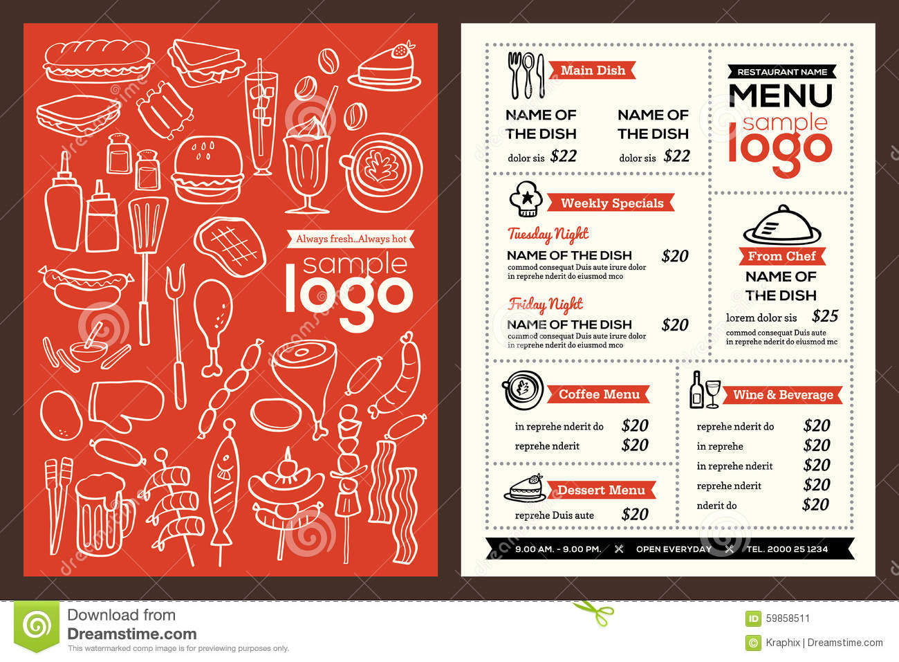 Modern Restaurant Menu Cover Design Pamphlet Vector