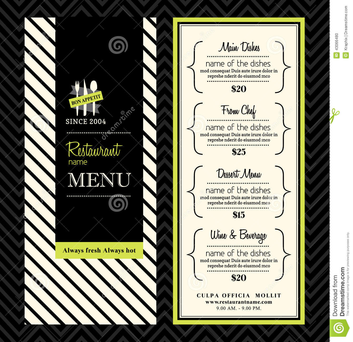 Modern Restaurant Menu Design Template Layout Illustration 43066480 Megapixl