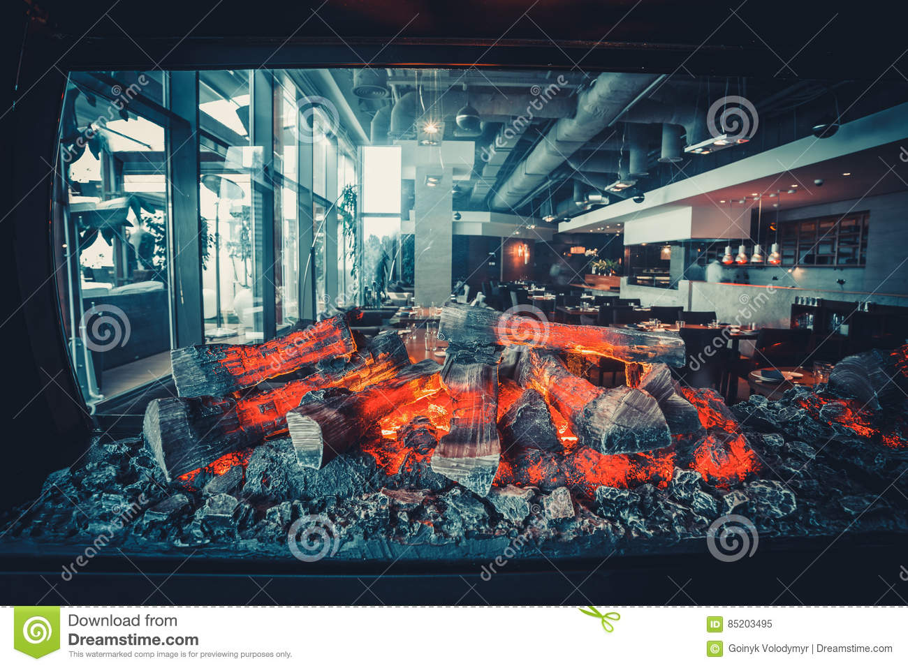 Modern Restaurant With Open Kitchen Stock Image - Image of equipment ...