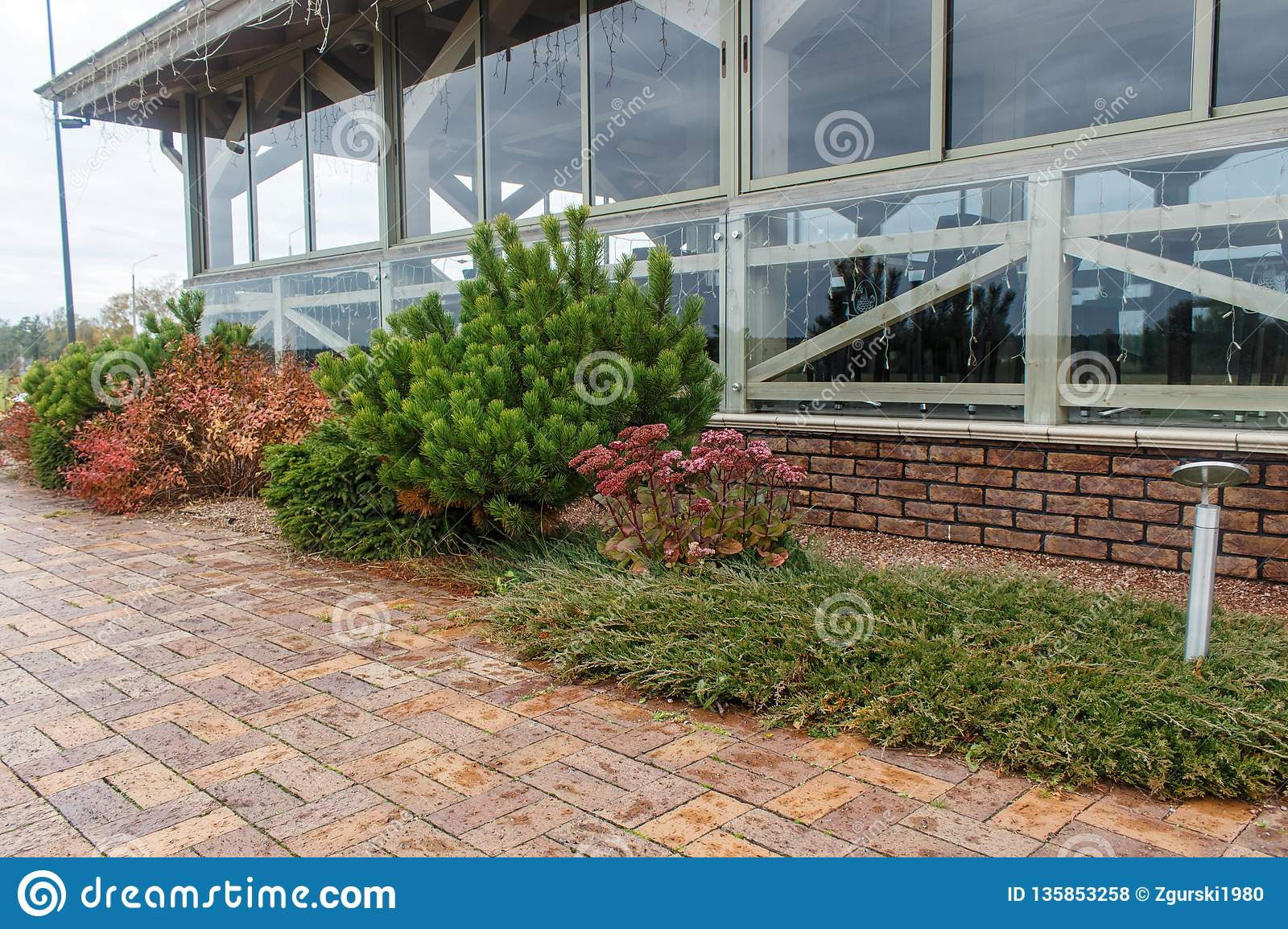 Modern Restaurant With Tile Pavement And Landscape Design Stock Photo Image Of Design Outdoor 135853258