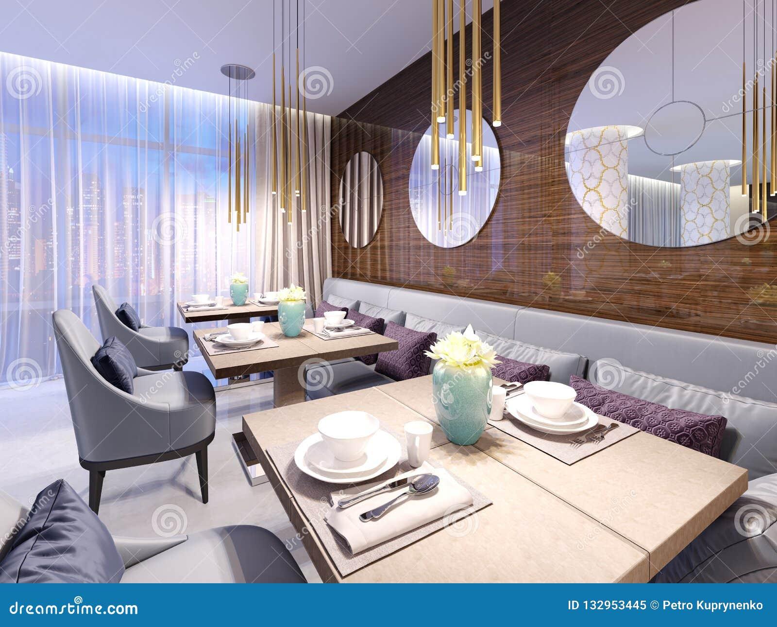 Terrific Modern Restaurant With Wooden Decorative Wall And Round Download Free Architecture Designs Lukepmadebymaigaardcom