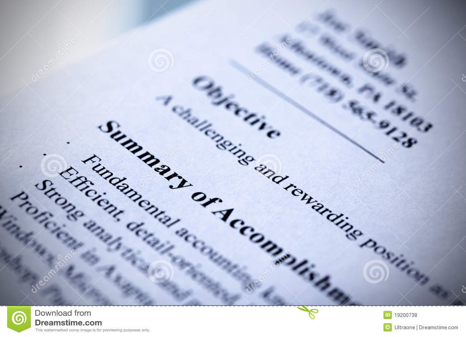Modern resume close-up. stock photo. Image of tint, resume - 19200738