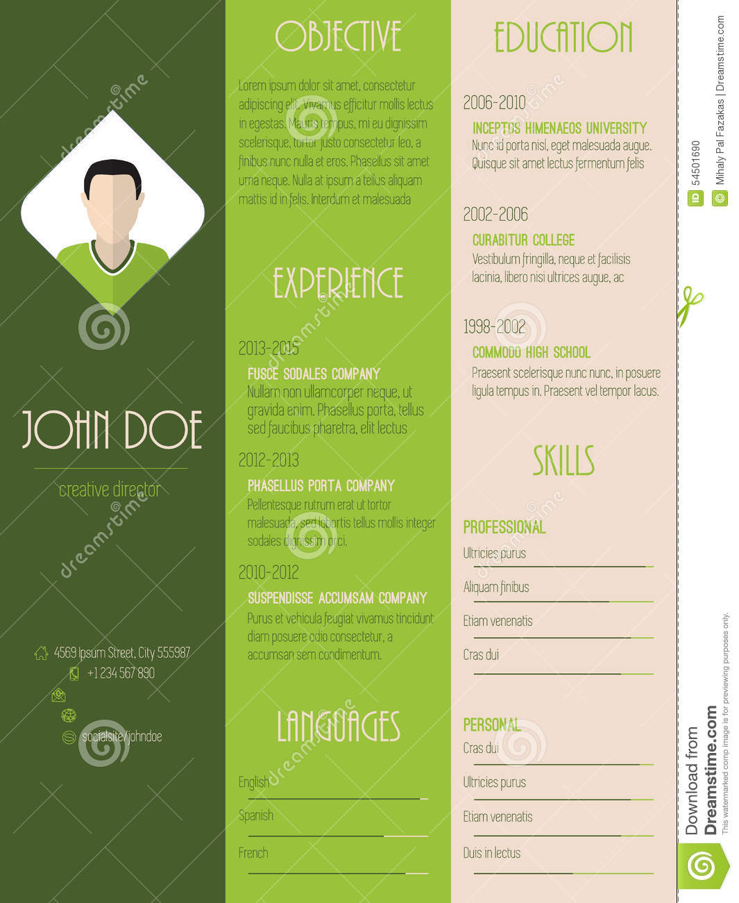 modern resume curriculum vitae in green with stripes stock vector