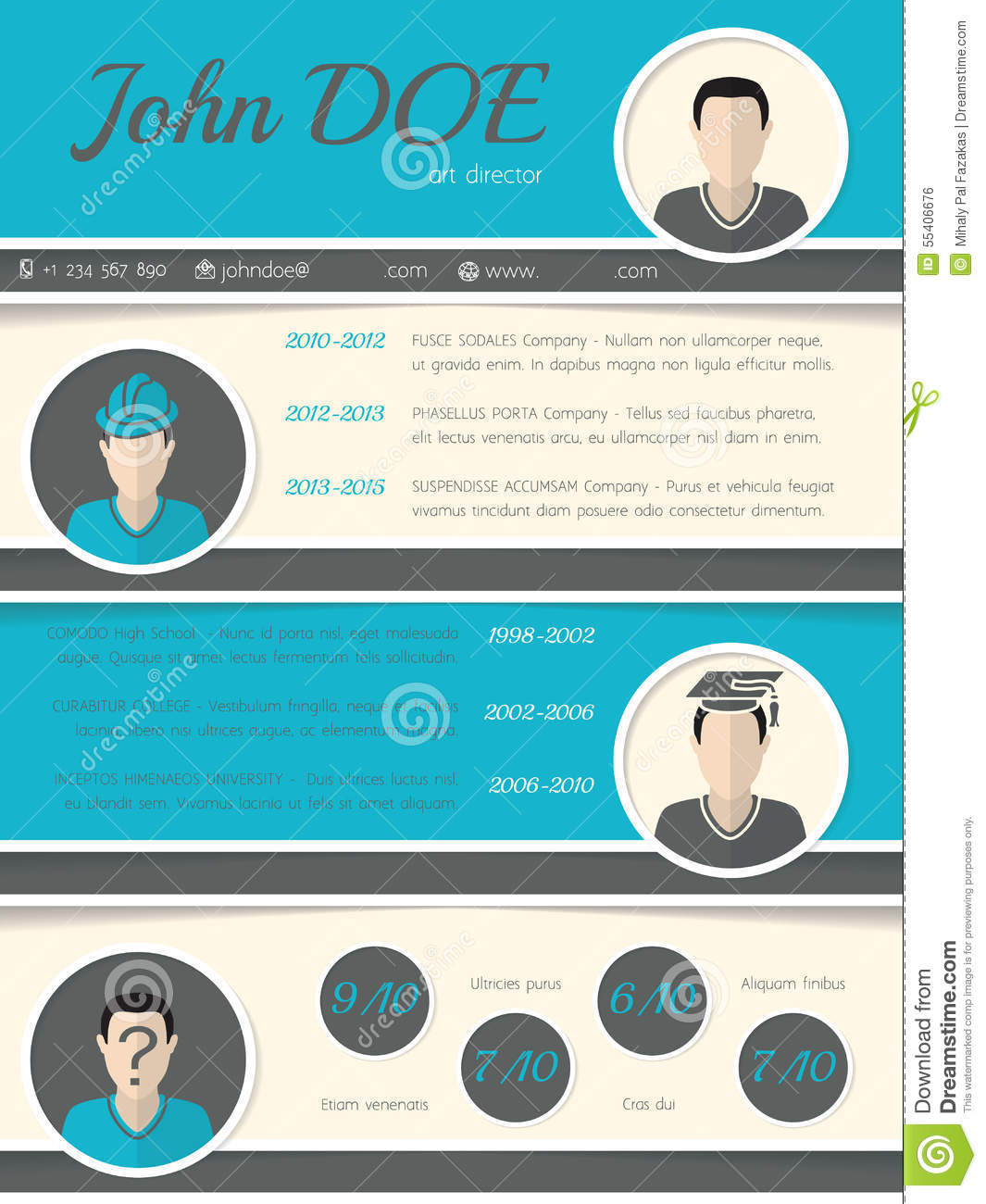 Modern Resume Curriculum Vitae Template With Circle Shapes Stock