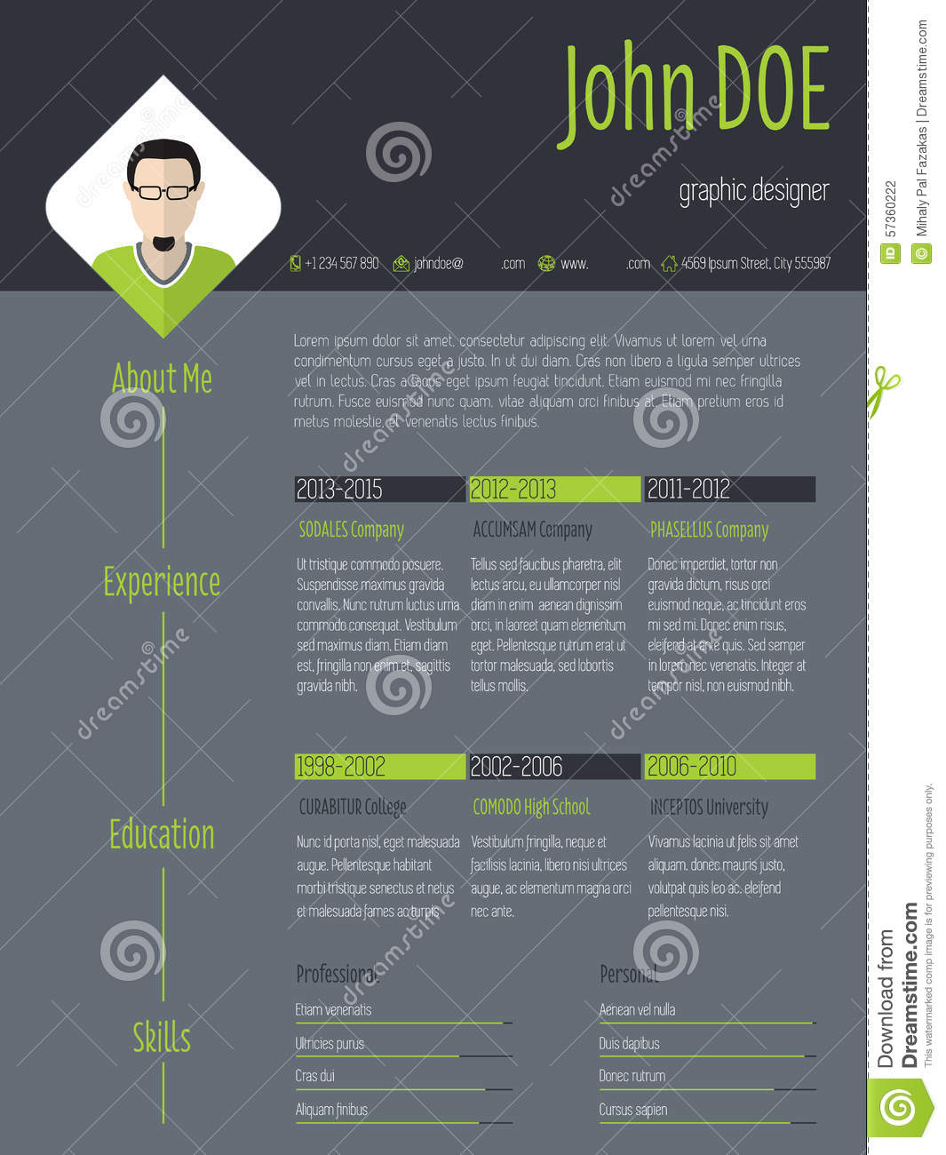 modern resume cv with photo and dark background stock