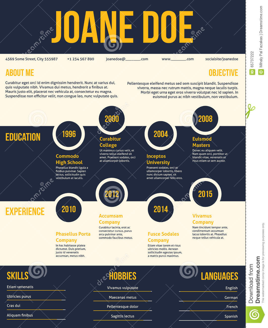 Modern Resume Cv Template With Bubble Graphic Elements Stock Vector