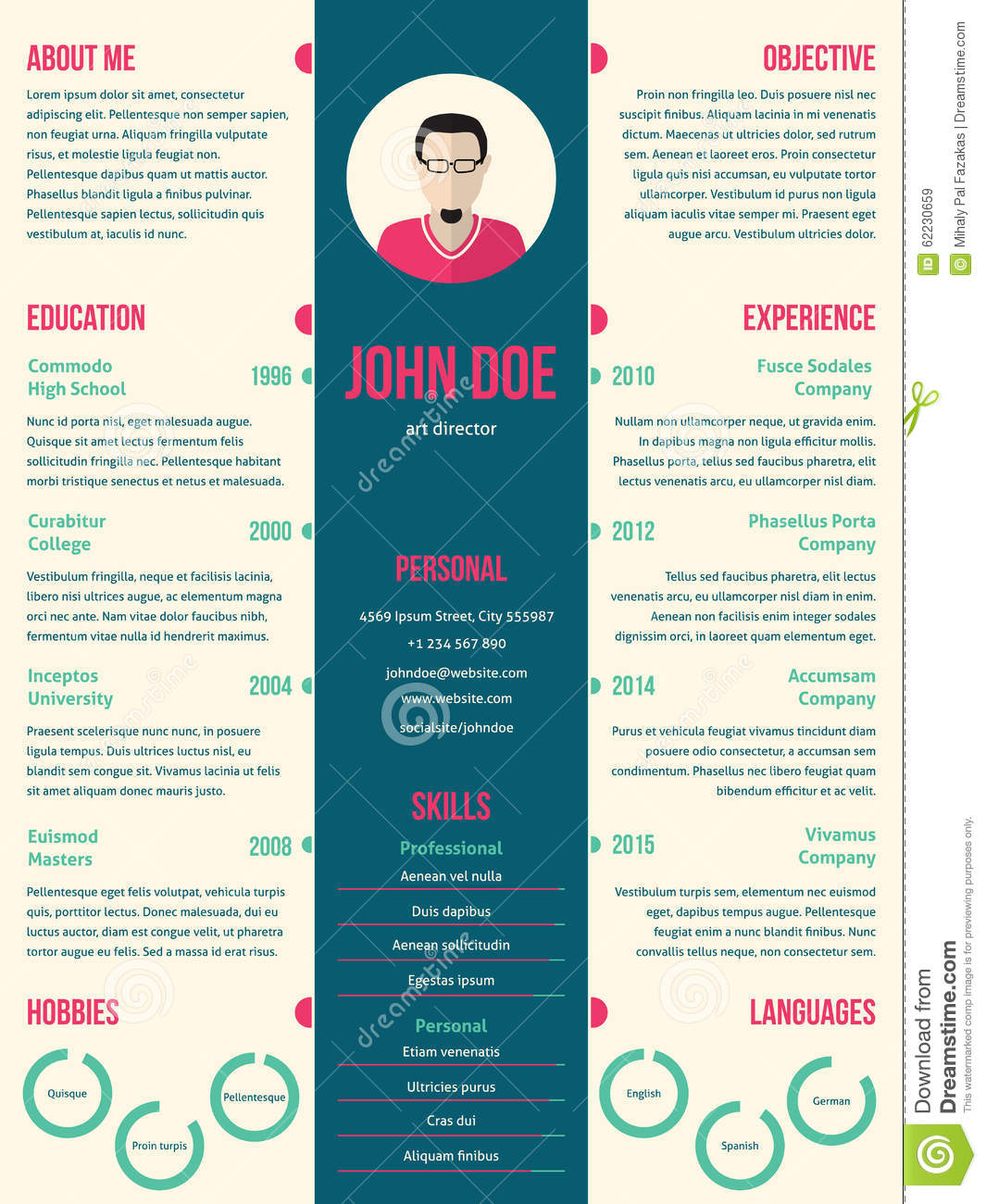 Modern Resume Formats | Modern Resume Cv Template For Employment Stock Vector Illustration