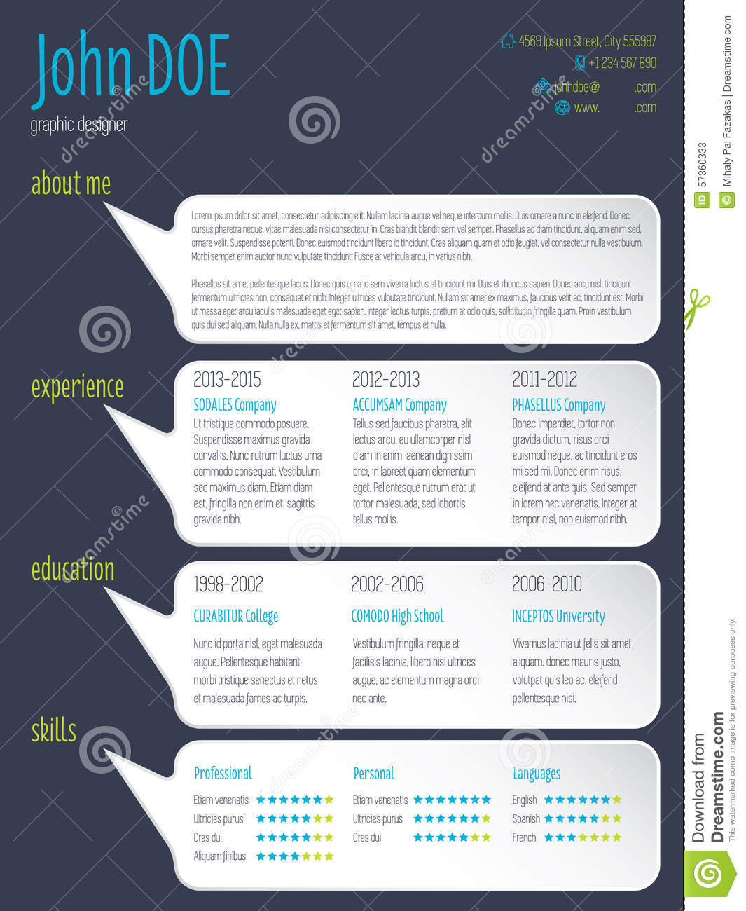 modern resume cv template with speech bubbles stock vector