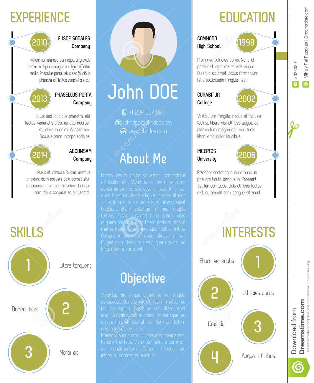modern resume design in green and blue stock vector