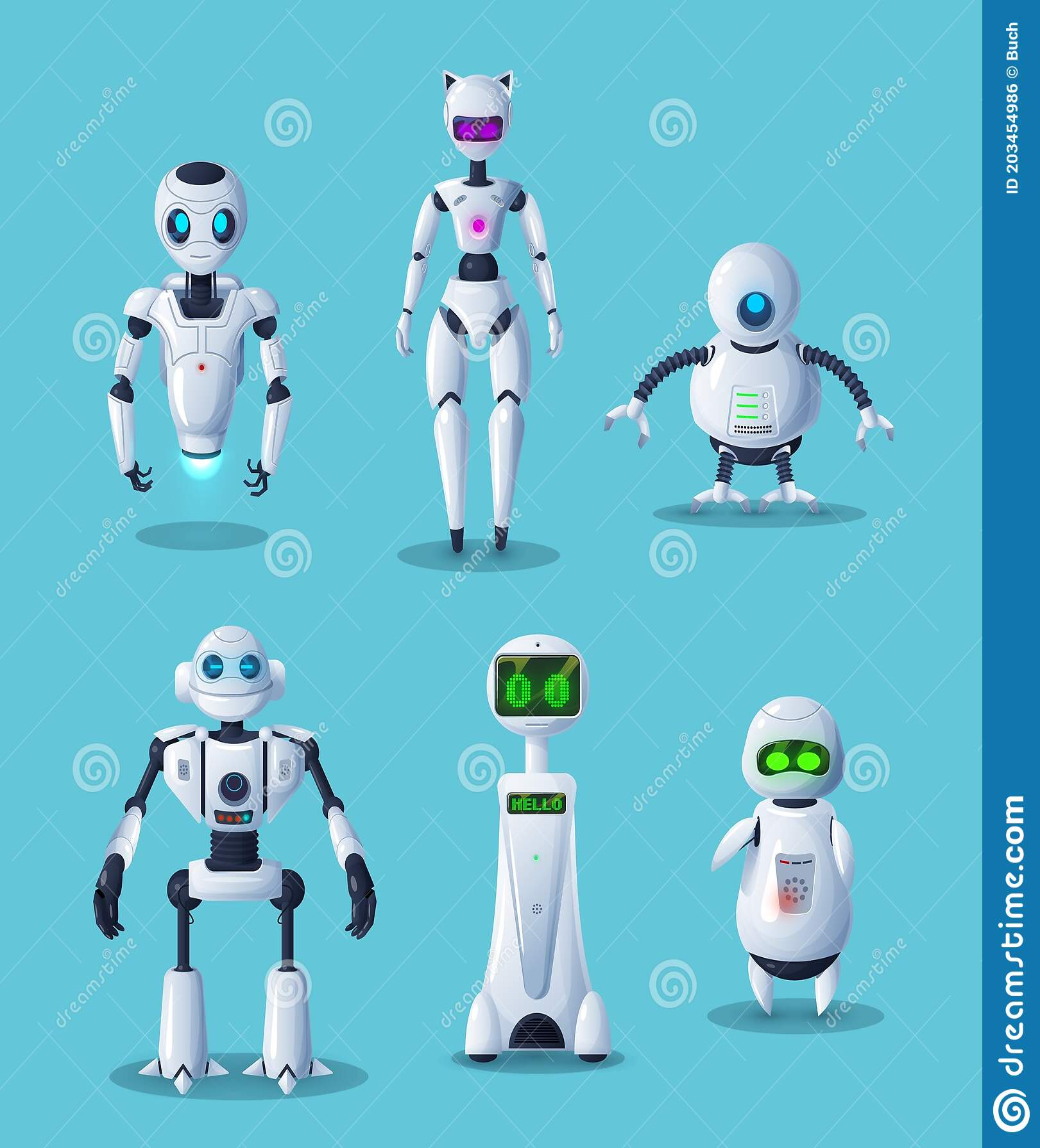 Modern Robot Cartoon Characters, Ai Technology Stock Vector ...