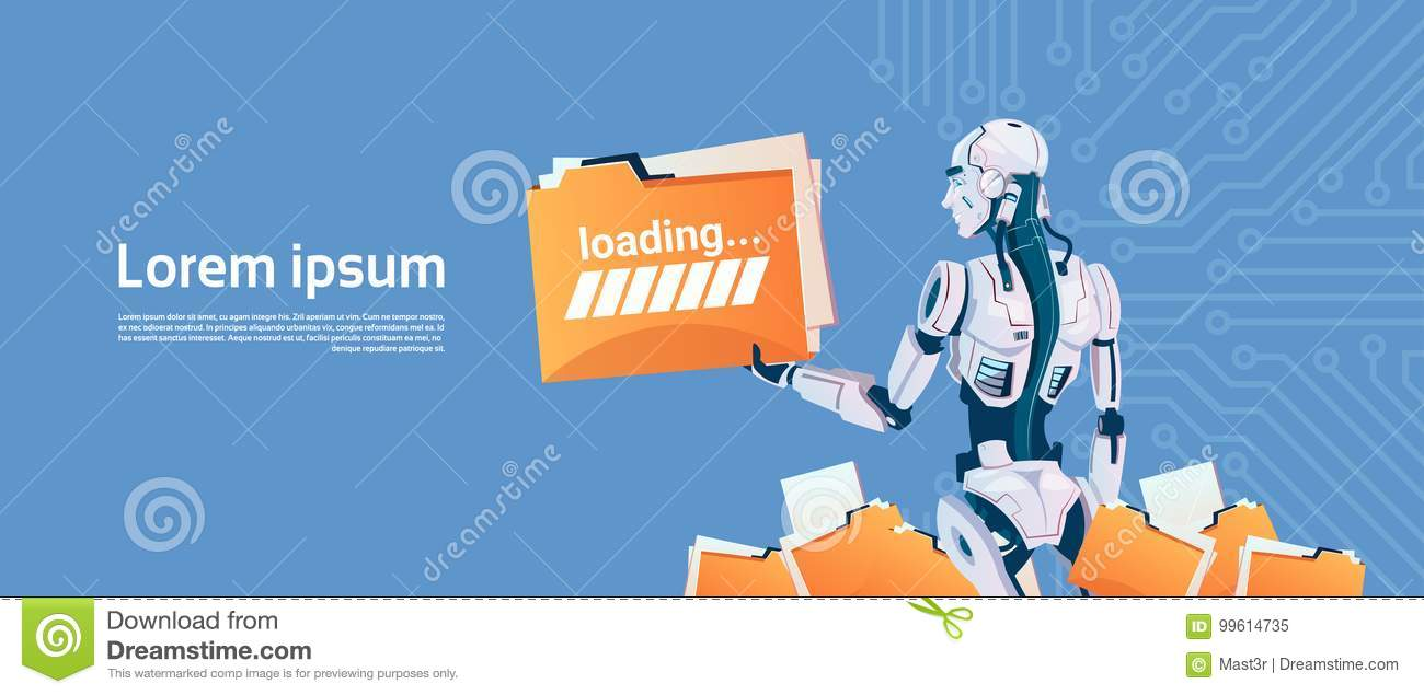 Modern Robot Hold Loading File Folder, Futuristic Artificial Intelligence Mechanism Technology
