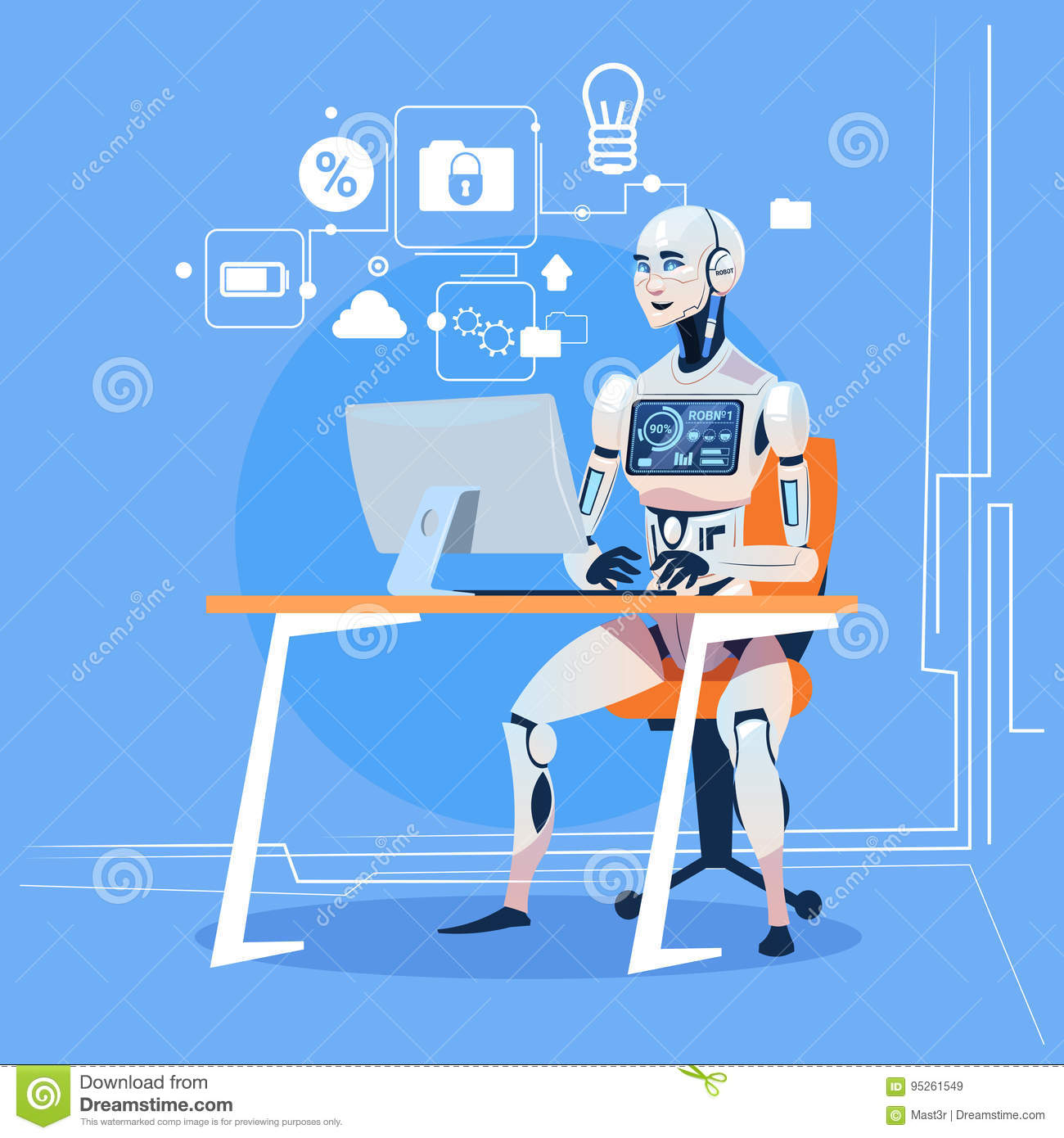 Modern Robot Working With Computer Fixing Errors Futuristic Artificial Intelligence Technology Concept