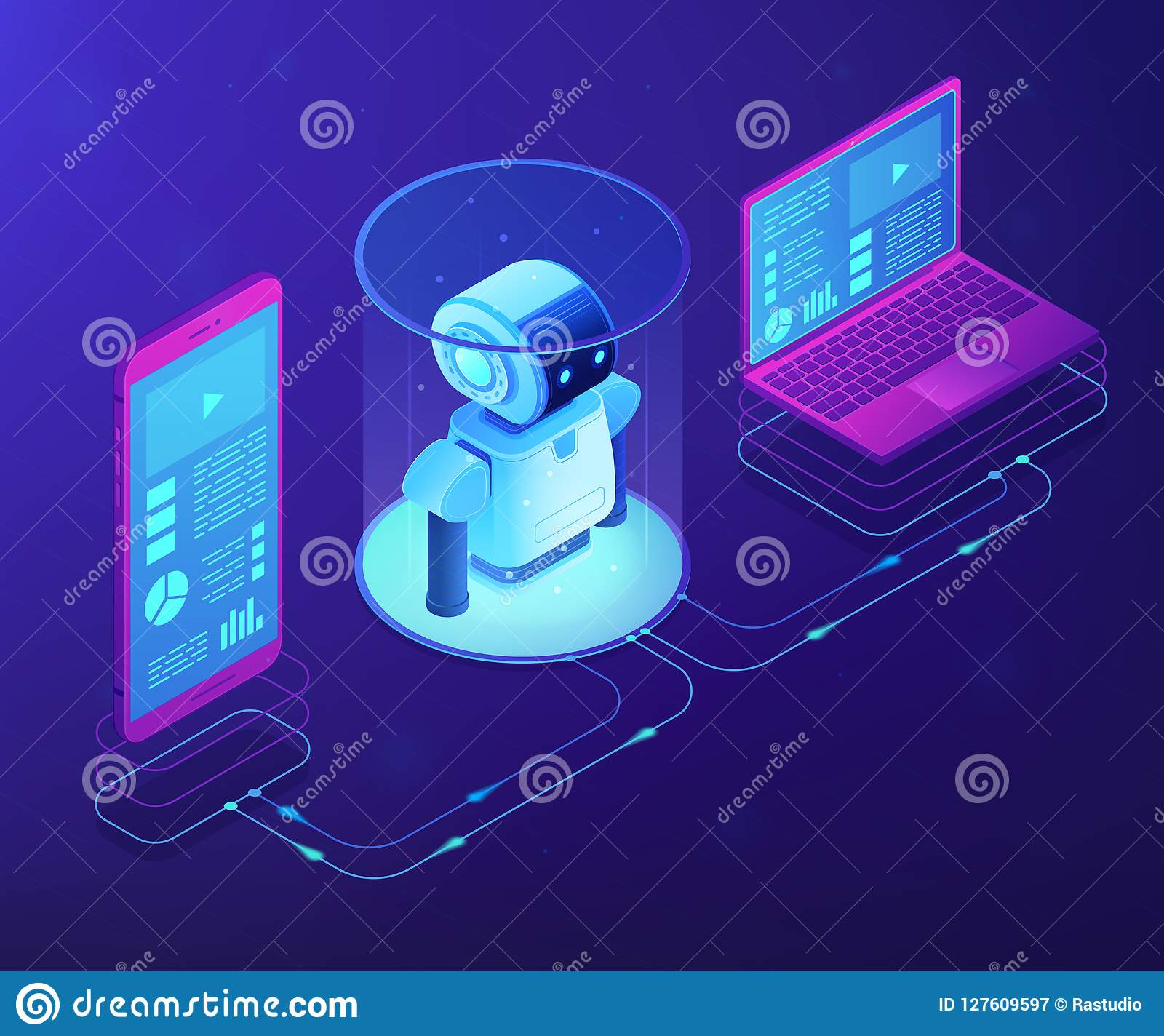 Wifi Controlled Robotics Concept Vector Isometric Illustration