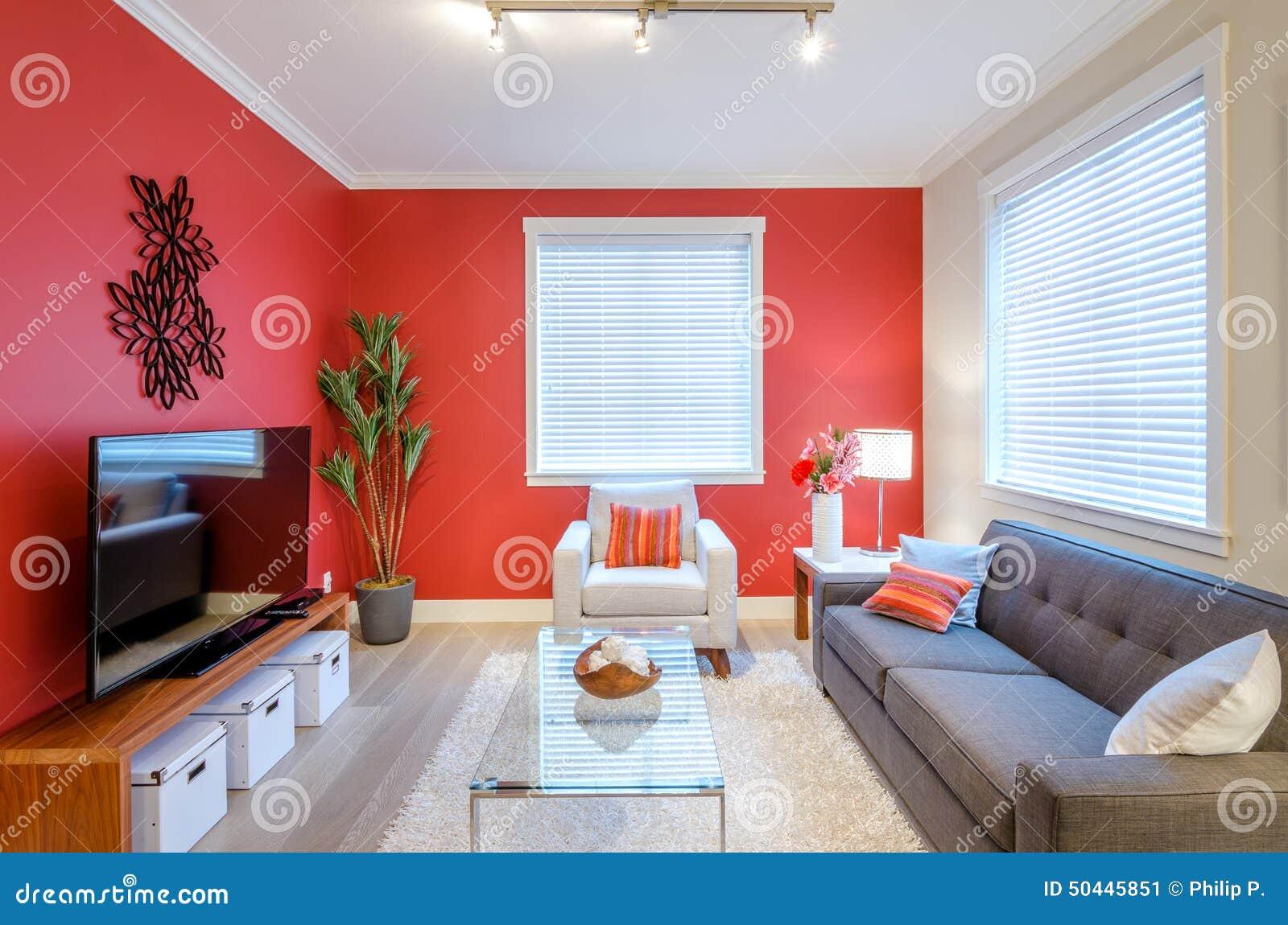 Modern Rood Woonkamer Binnenlands Ontwerp Stock Afbeelding ...