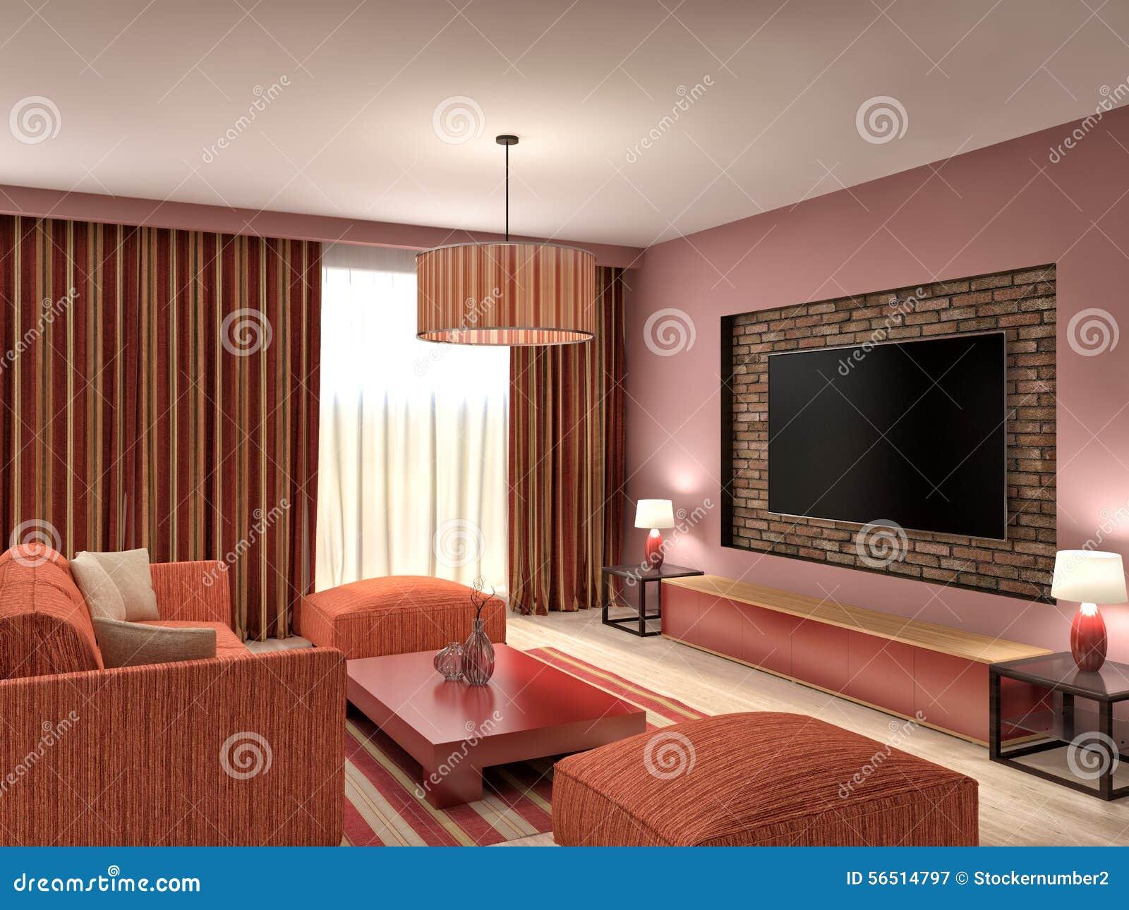 3d Woonkamer Ontwerpen : Modern rood woonkamer binnenlands ontwerp 3d illustratie stock