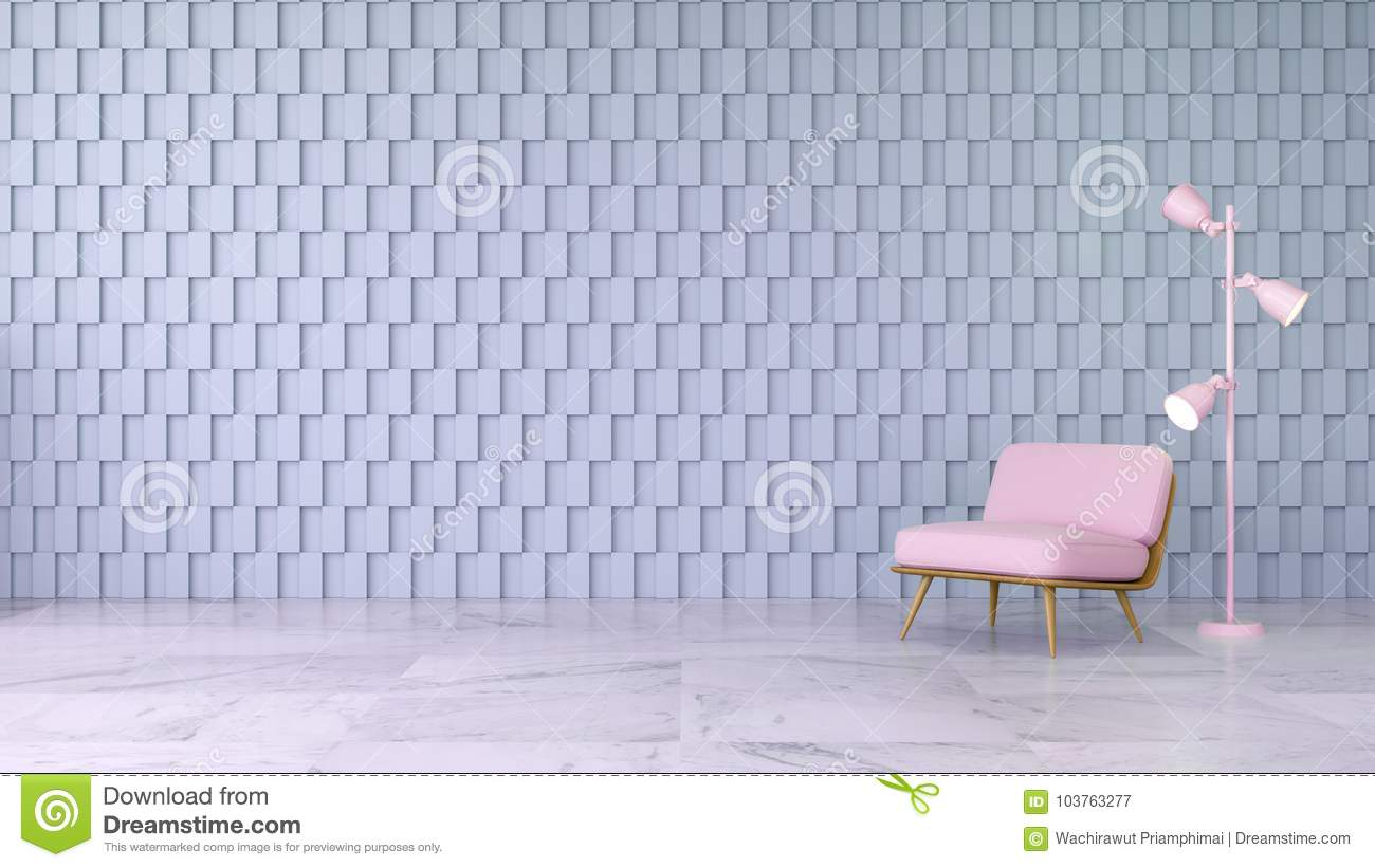 Modern Room Interior Design Concept Pink Chair On Marble Floor And Gray Square Wall 3d Render Stock Illustration Illustration Of Light Design 103763277