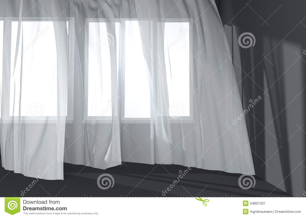 Download Modern Room Interior With White Curtains And Sunlight Stock Illustration