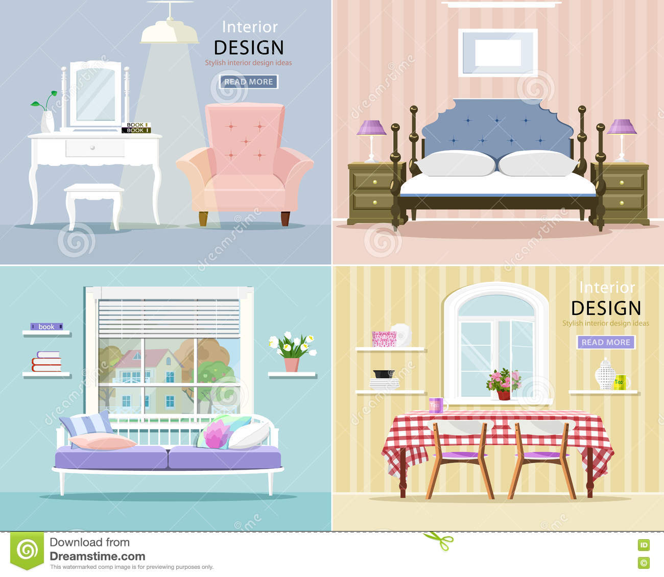Modern Room Interiors Set Stylish Graphic Living Room Bedroom And