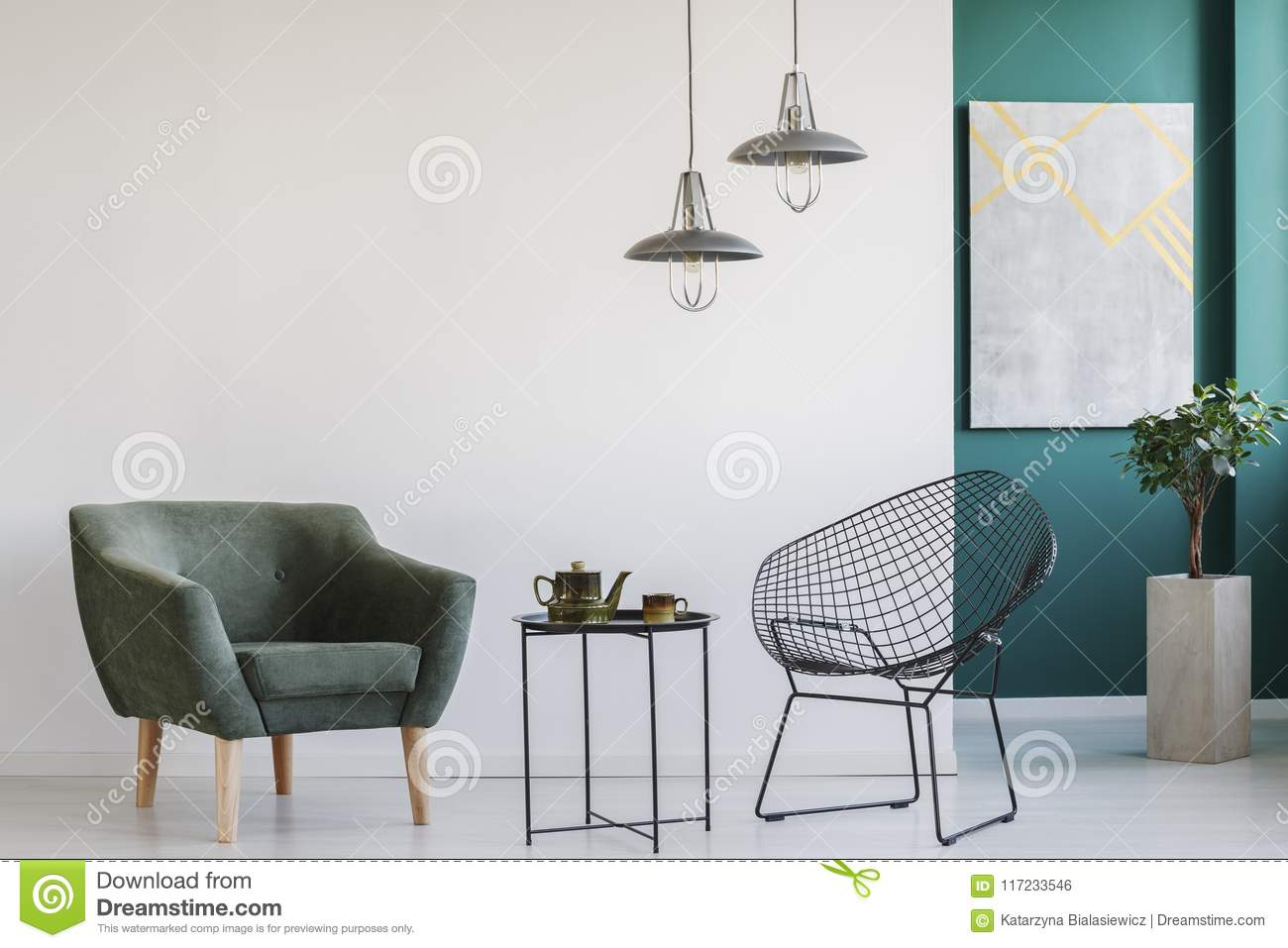 Modern Room With Two Armchairs Stock Photo - Image of ...