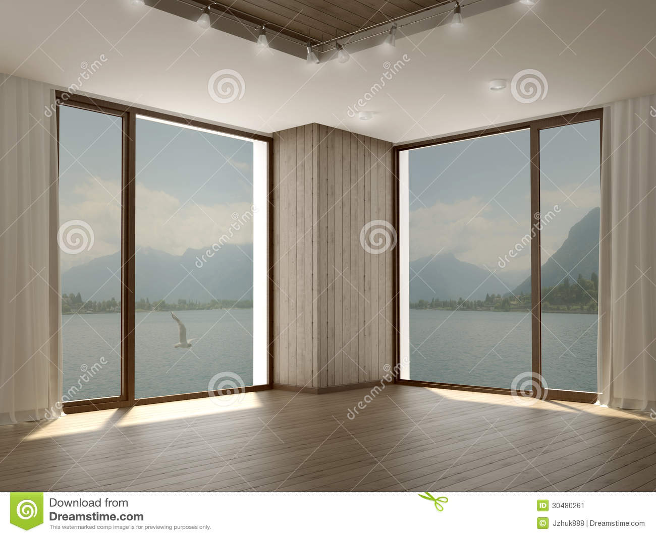 Home Design Architectural Free Download Modern Room With Two Large Windows In Corner Stock Image