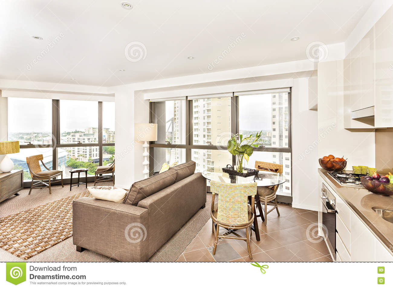 Modern room view near kitchen with sofa set