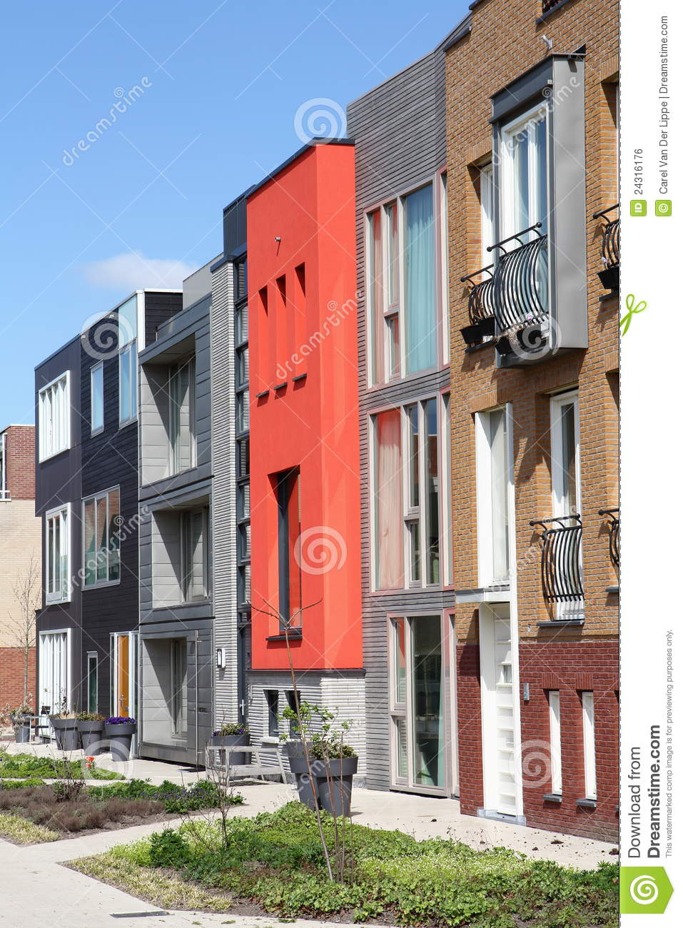 Modern ow Of Unique Dutch Homes In Leiden oyalty Free Stock ... - ^