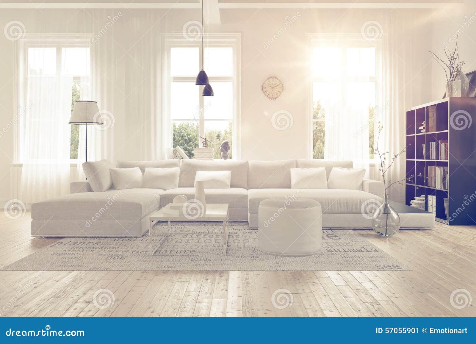 Modern ruim wit zitkamerbinnenland