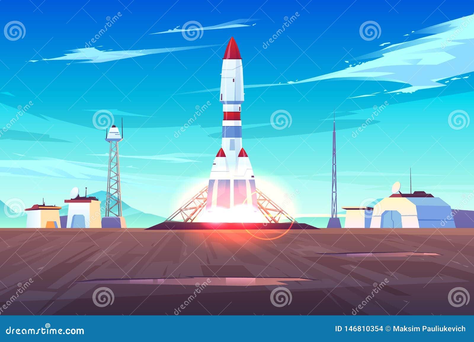 Modern ruimtevaartuig het lunchen beeldverhaal vectorconcept