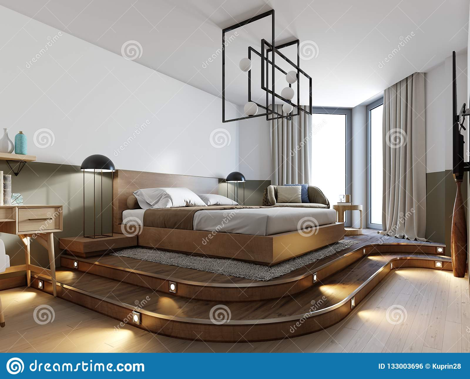 Modern Rustic Bedroom Design And A Bed On A Wooden Podium With