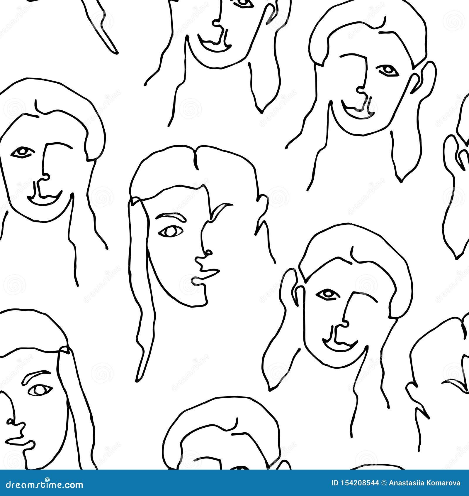Modern sömlös modell med den linjära abstrakta kvinnaframsidan Fortl?pande linje konst En linje teckning