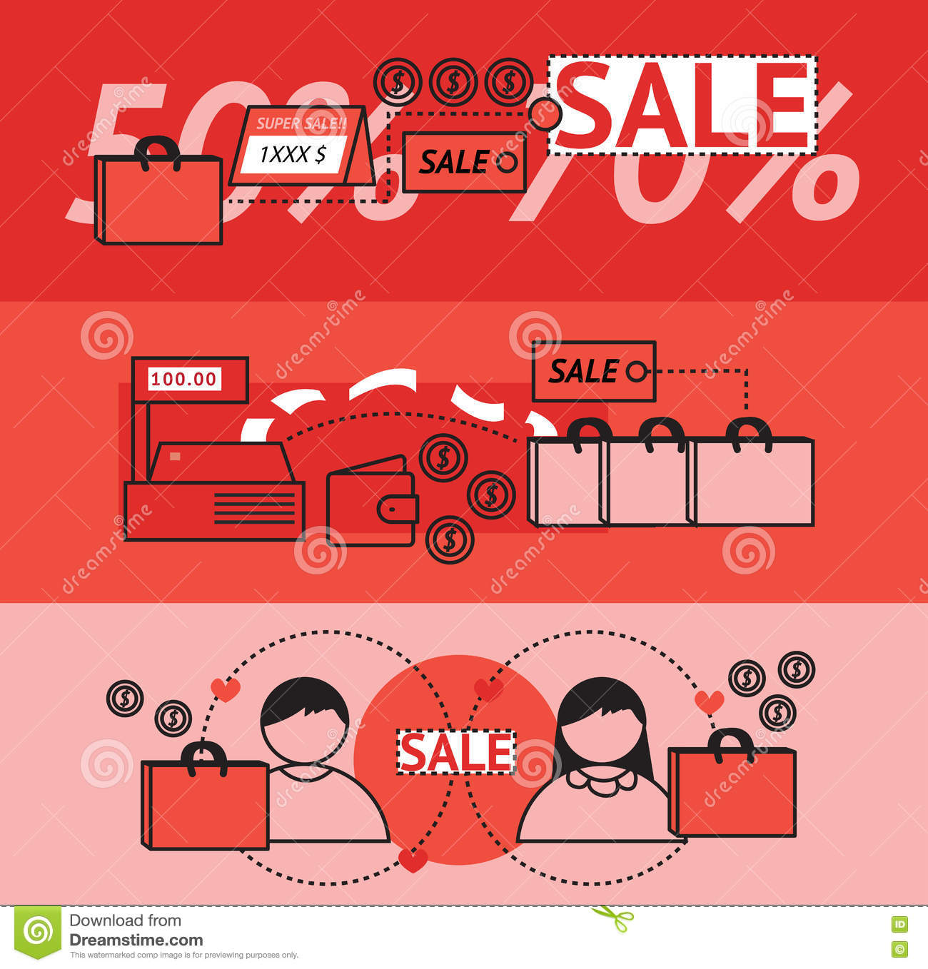 modern sales and marketing promotion flat line design banners stock