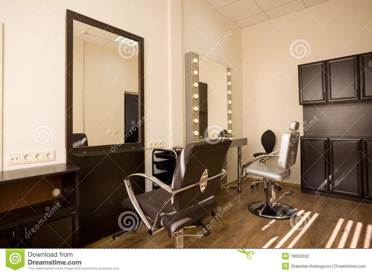 Modern Salon Make Up Artist And Hairdresser Stock