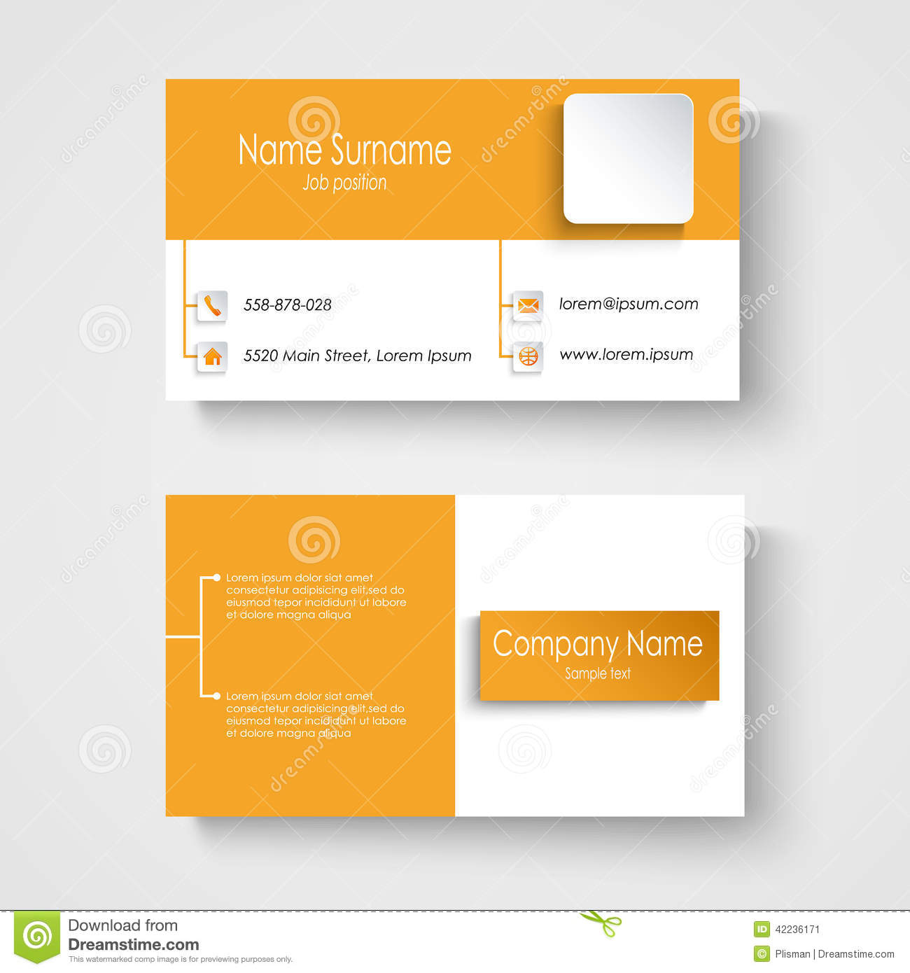 Modern sample orange business card template stock vector modern sample orange business card template colourmoves