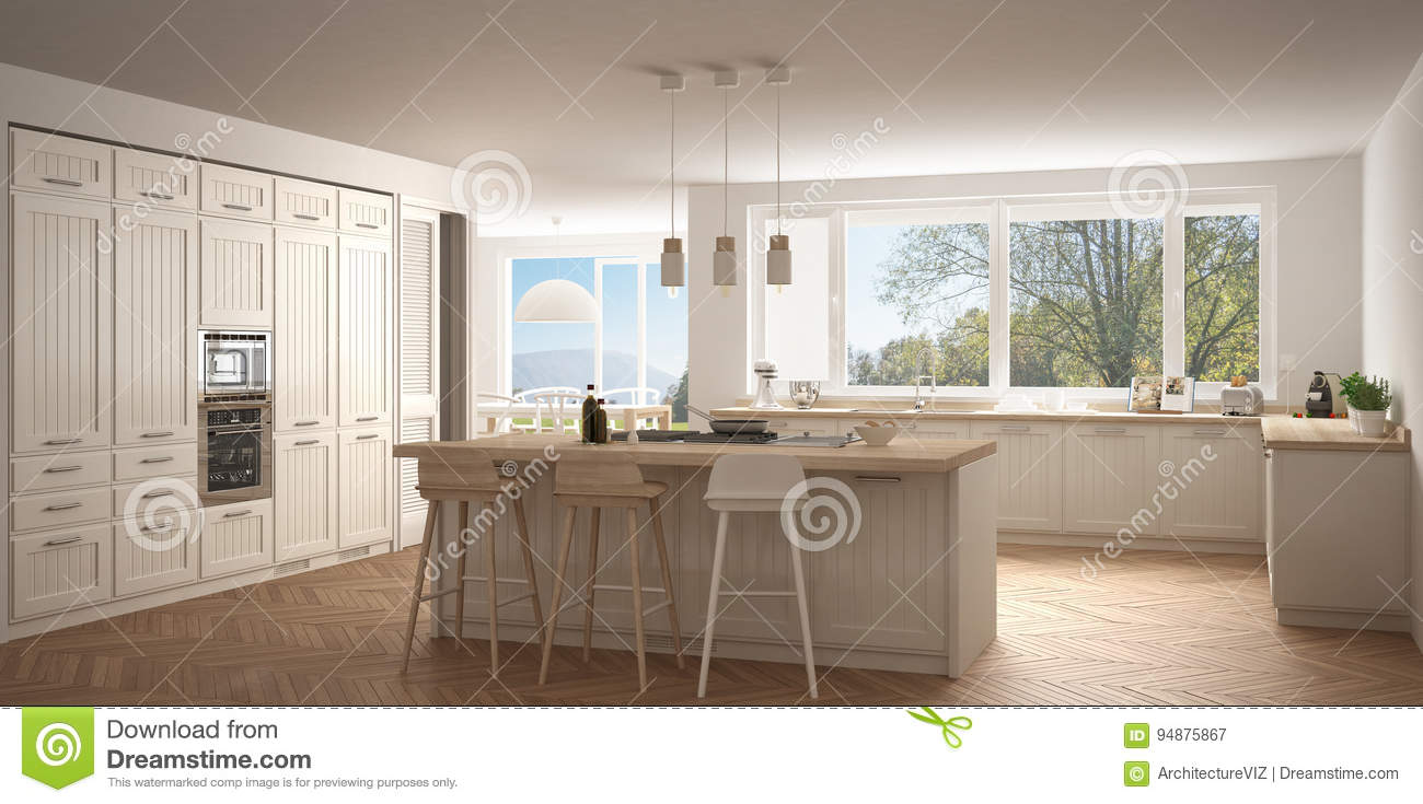 Modern scandinavia kitchen with big windows panorama classic white interior design