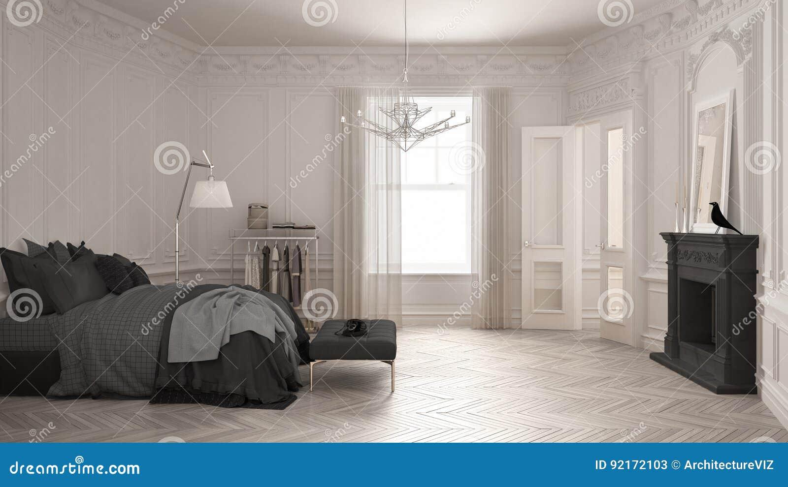 Modern Scandinavian Fireplace: Modern Scandinavian Bedroom In Classic Vintage Living Room