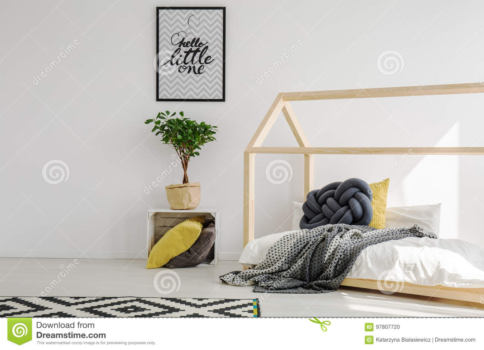 Modern, Scandinavian Child`s Bedroom Stock Photo - Image ...