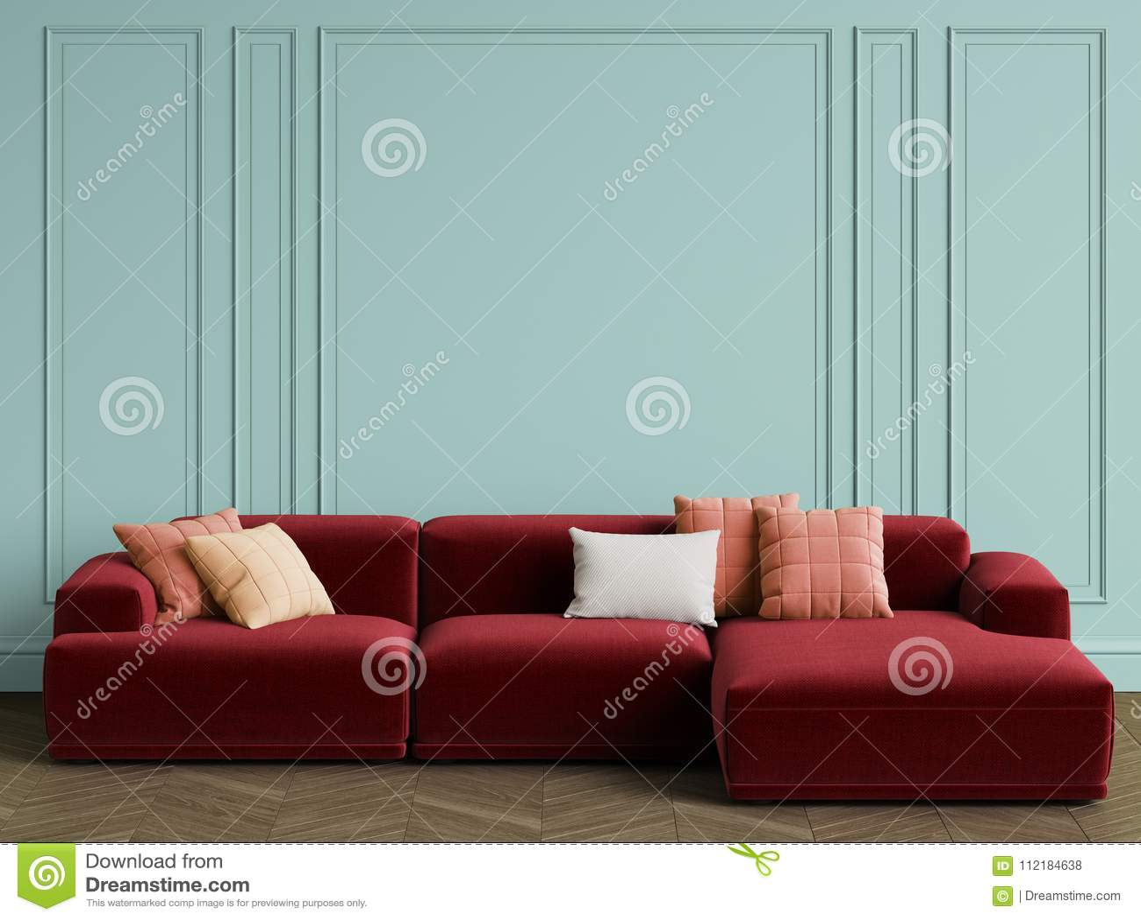 Modern Scandinavian Design sofa in interior. Walls with moldings,floor parquet herringbon