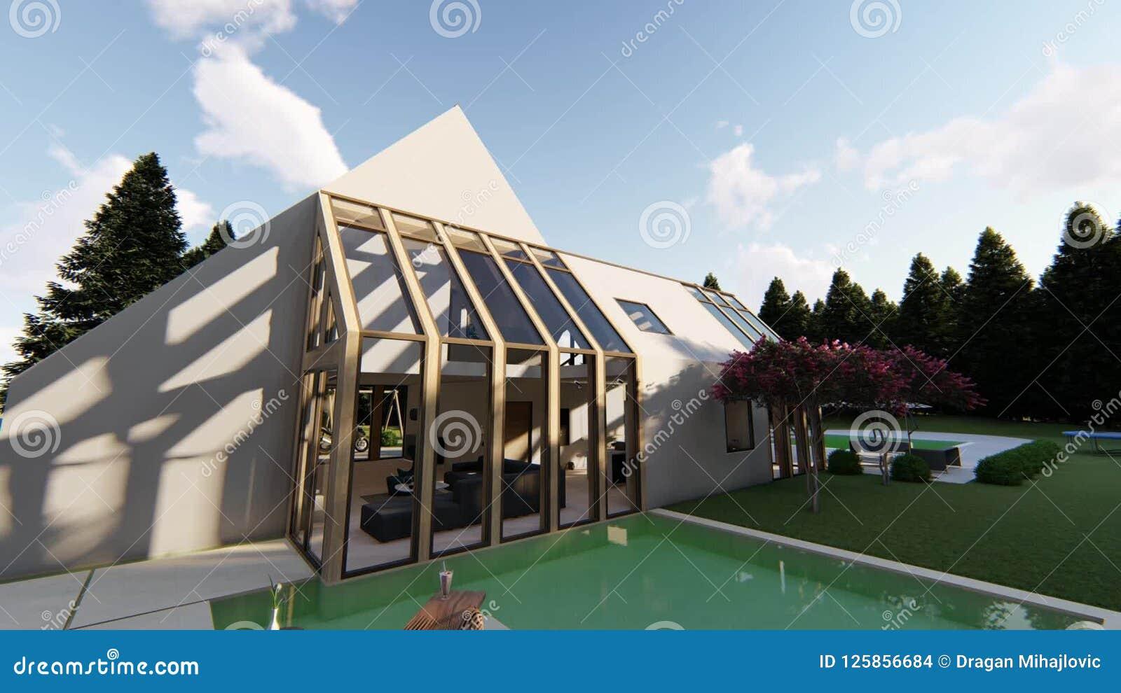 Modern Scandinavian House Exterior Stock Footage Video Of House