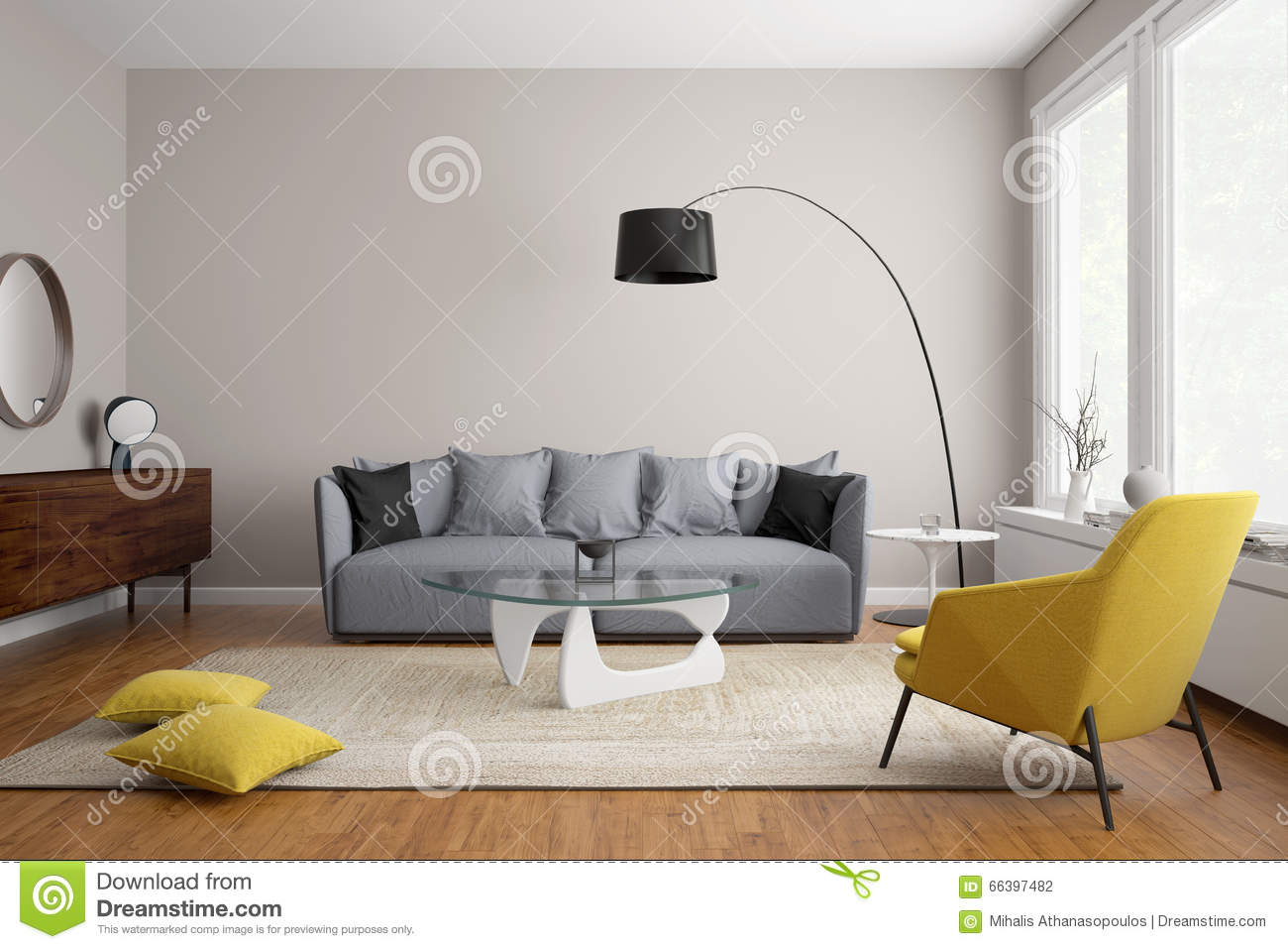 Modern scandinavian living room with grey sofa stock for Sofa skandinavisches design