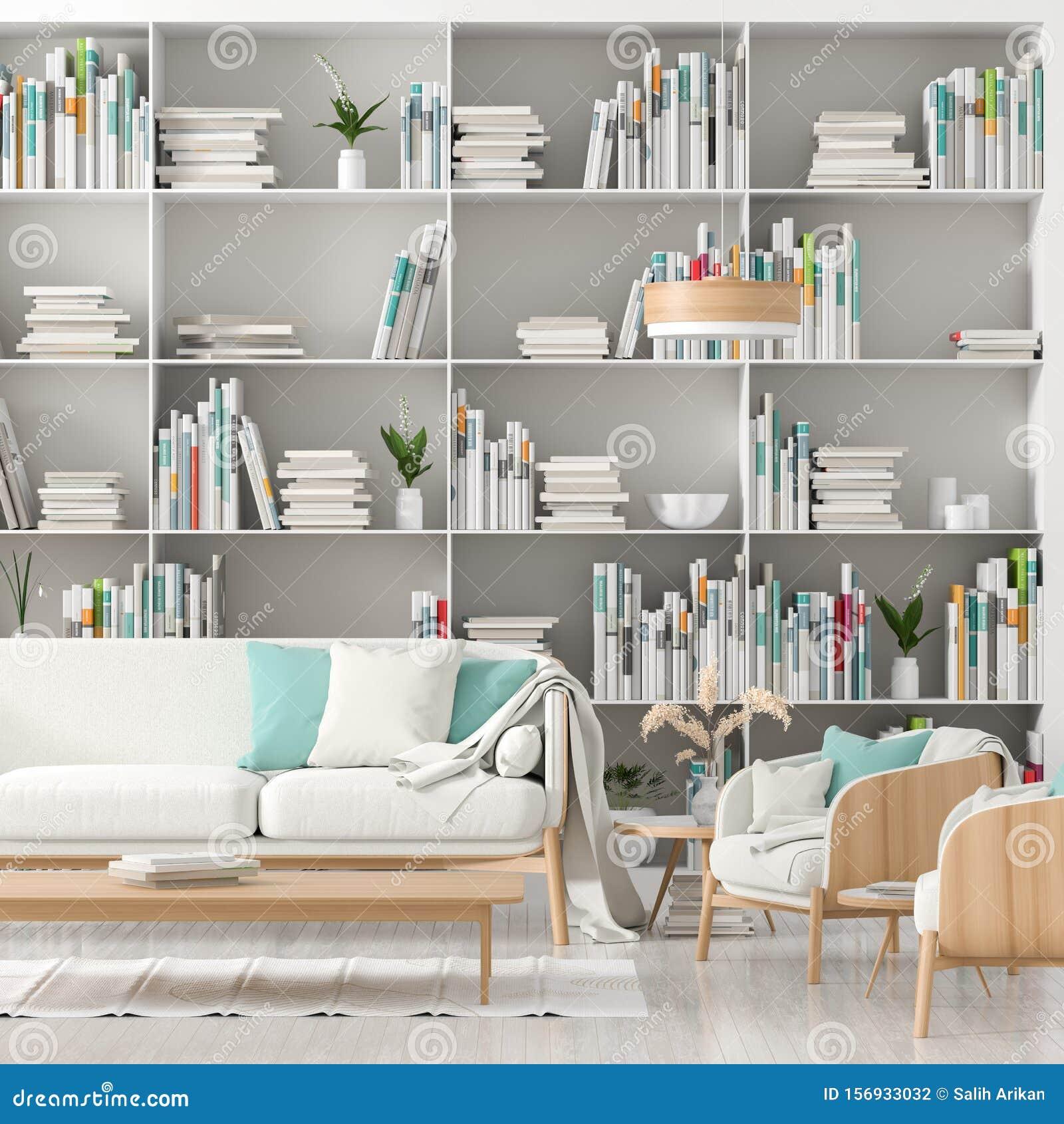 Modern Scandinavian Style Interior With Book Shelf Full Of Books Minimalist Interior Design 3d Illustration Stock Illustration Illustration Of Scandinavian Elegant 156933032