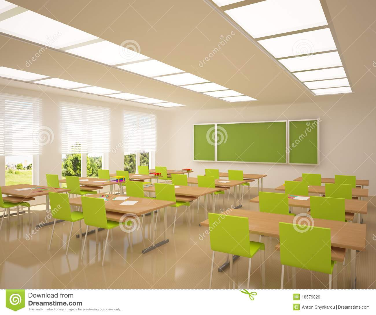 Modern School Apartment Stock Illustration  Illustration