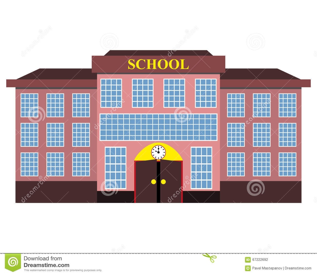 Modern school building flat design stock illustration for Building design images