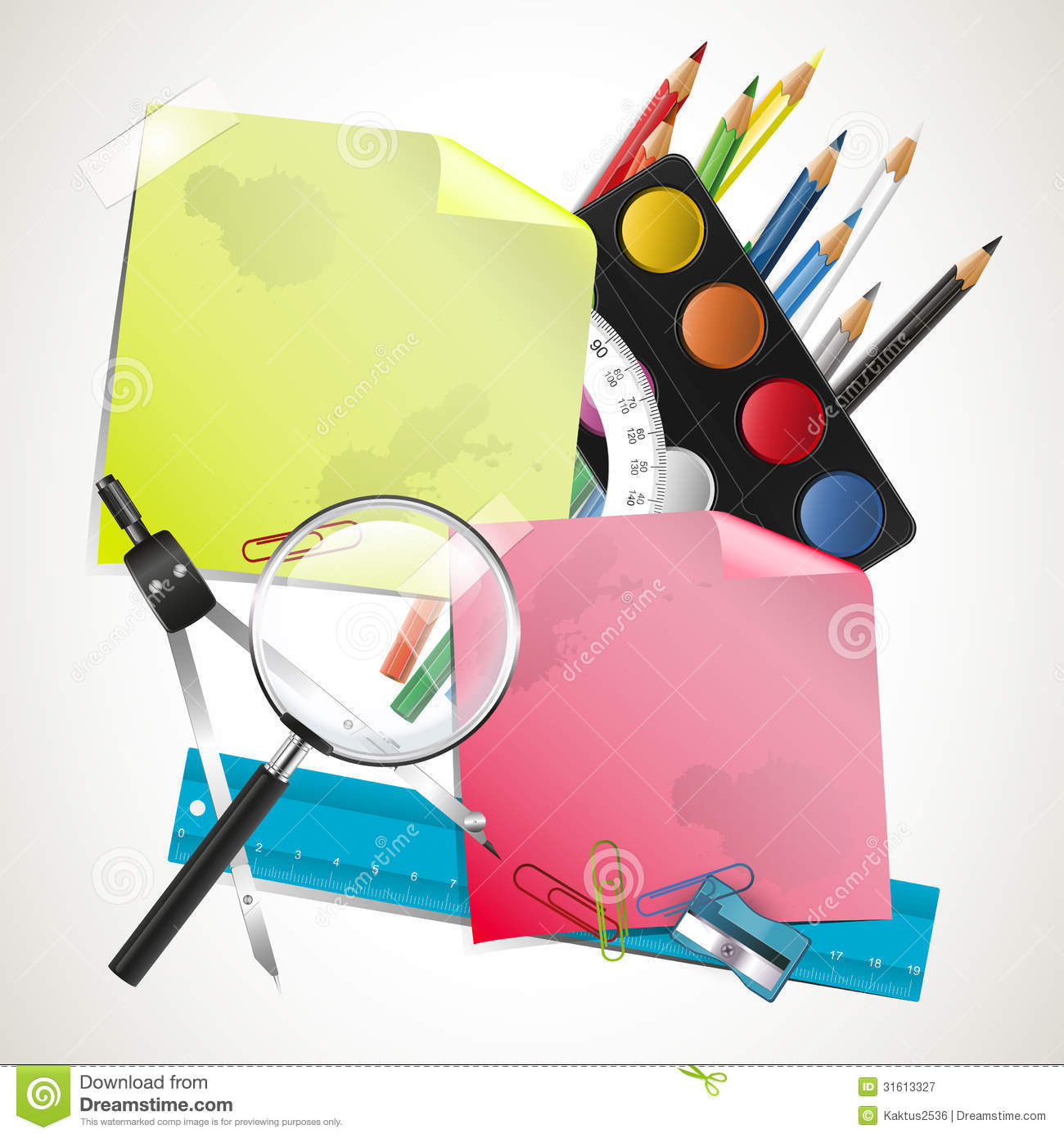 Modern Classroom Supplies ~ Modern school composition royalty free stock photography