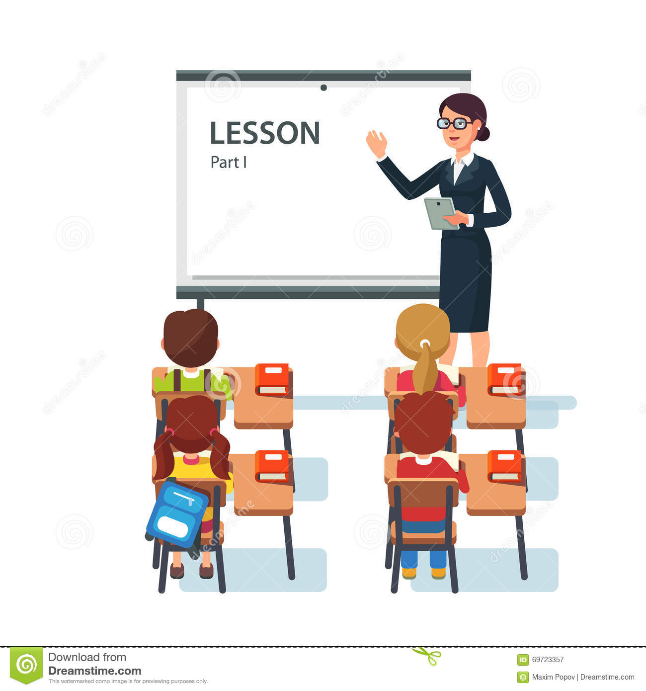 Modern Classroom Lesson Indicators : Modern school lesson little students and teacher stock vector illustration of desk isolated
