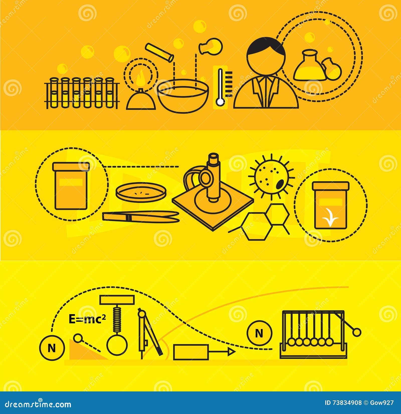 science laboratory research creative banner cartoon vector