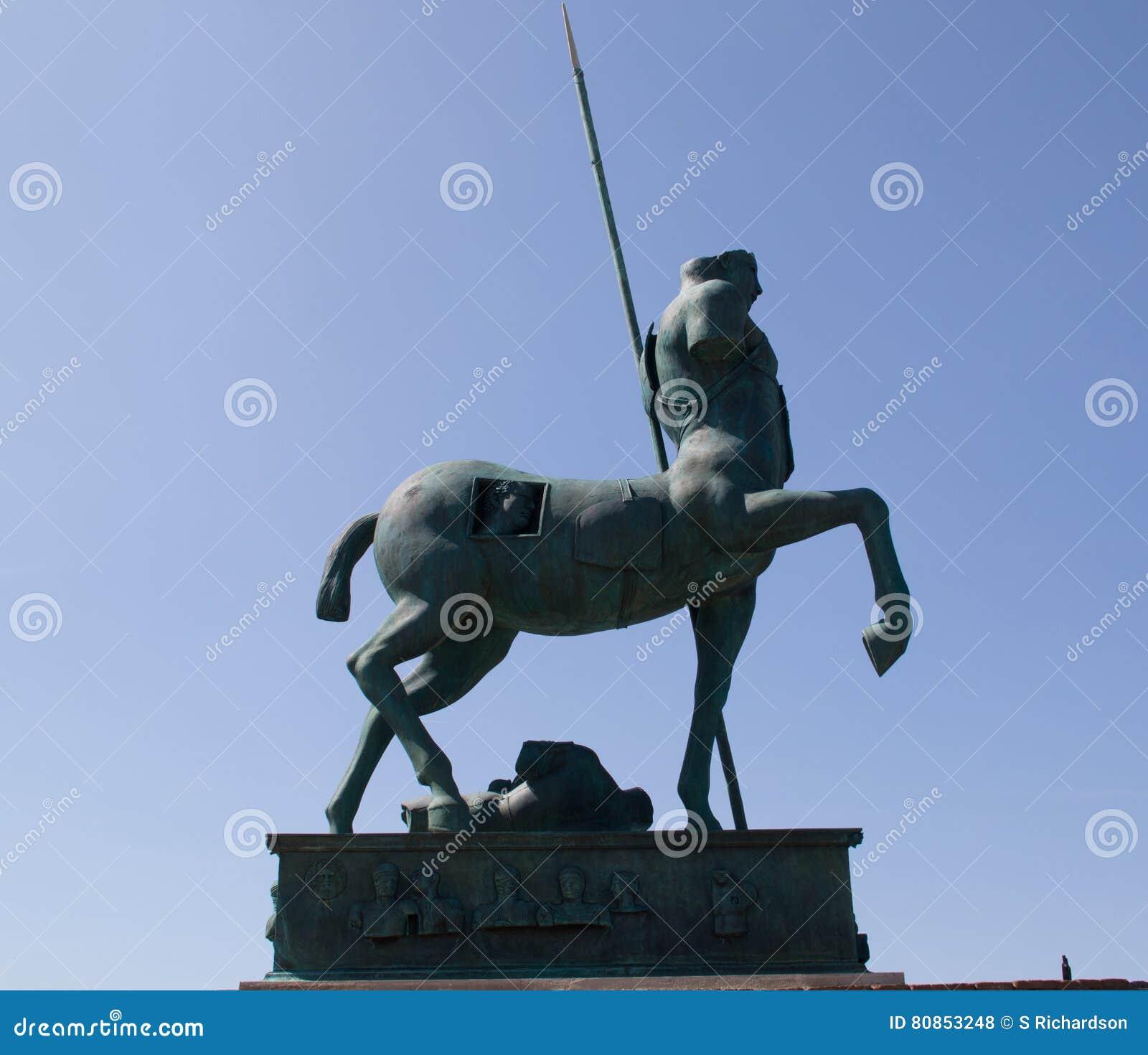 Modern Sculpture Of Centaur - Pompeii Against A Perfect Blue
