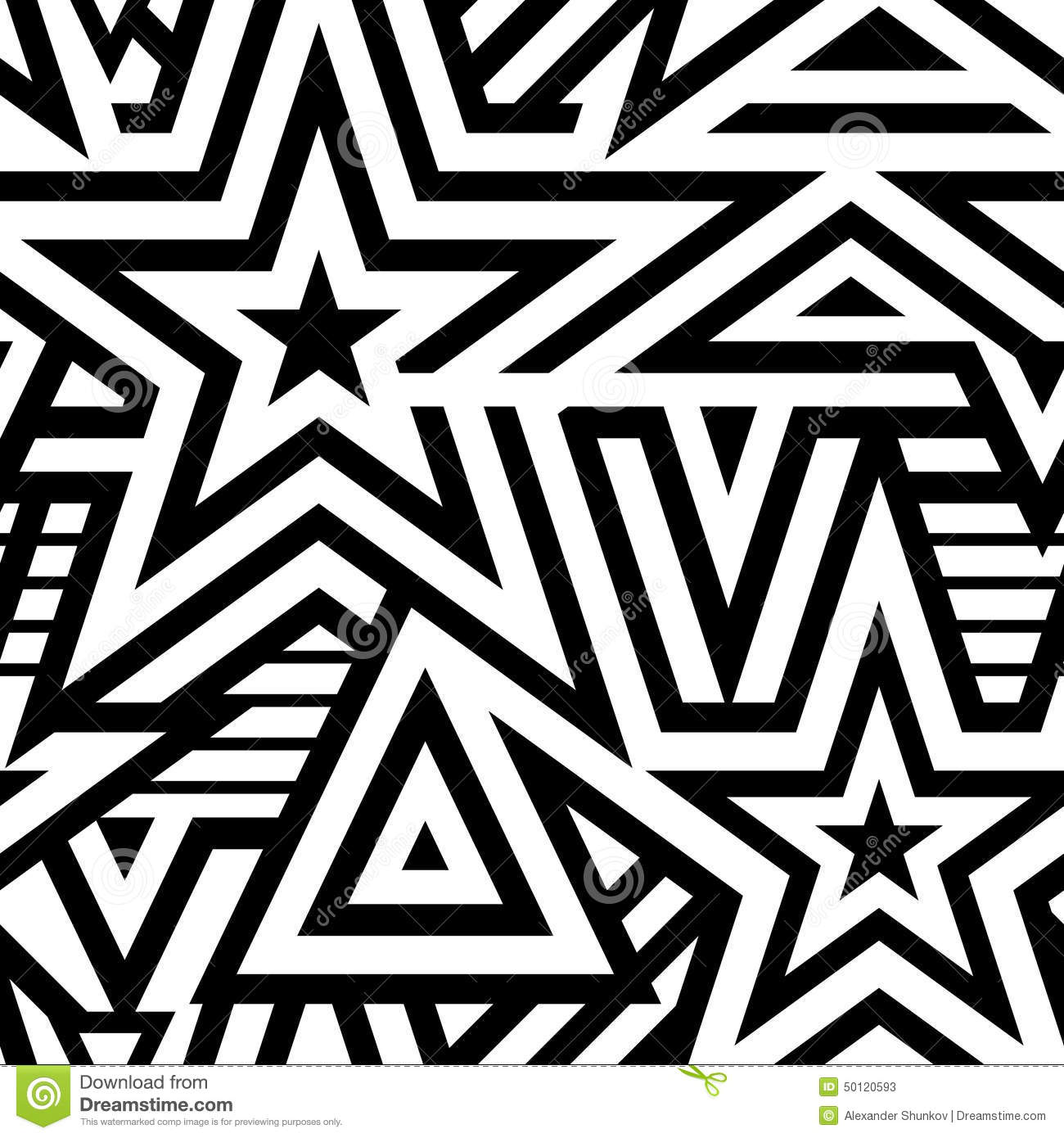 Modern seamless stars background stock vector image for Modern patterns black and white
