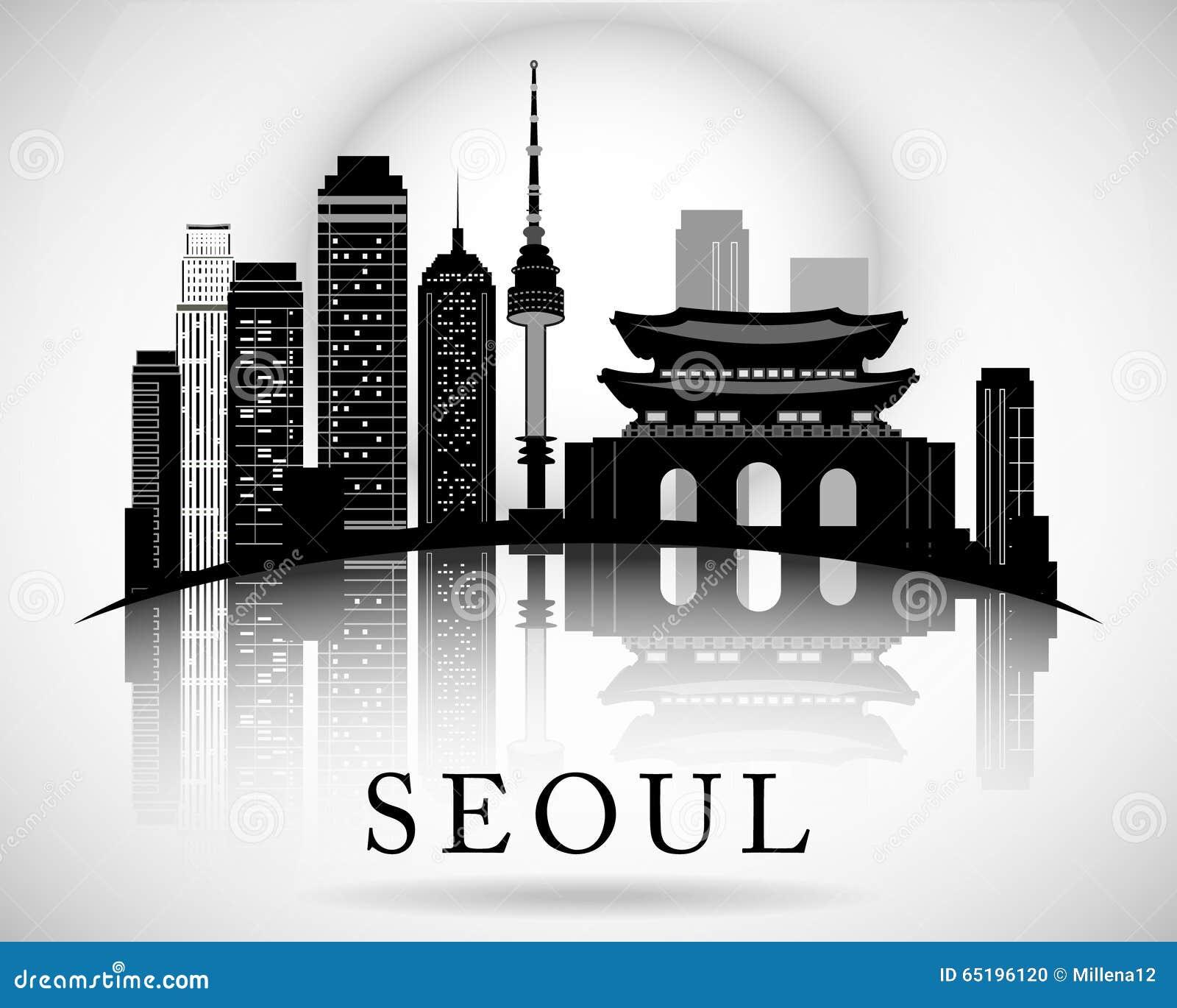 South korea seoul city skyline silhouette vector for Landmark design